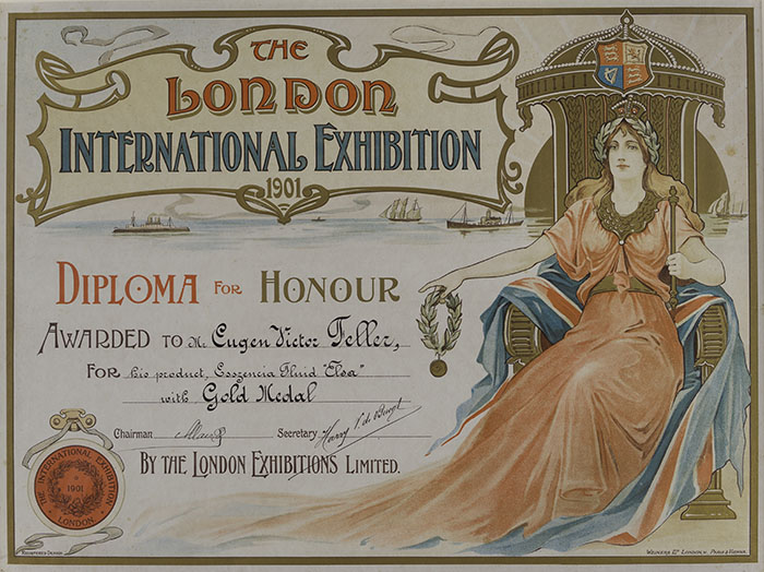 Počasna diploma zlatne medalje Eugenu Viktoru Felleru za Elsa-fluid, London, 1901., HMMF-272