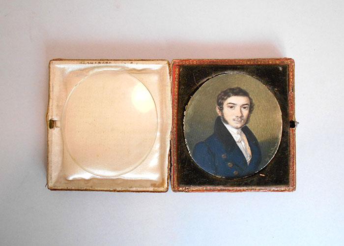 Josef Weidner: Portret dr. Josipa Zlatarovića, Beč, sredina 19. st., minijatura u kožnatoj spremnici, inv. br. HMMF-804
