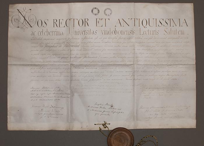 Diploma doktora medicine Josipa Zlatarovića, Beč, 1830., rukopis, pergamena, pečat: drvo i vosak, inv. br. HMMF-34